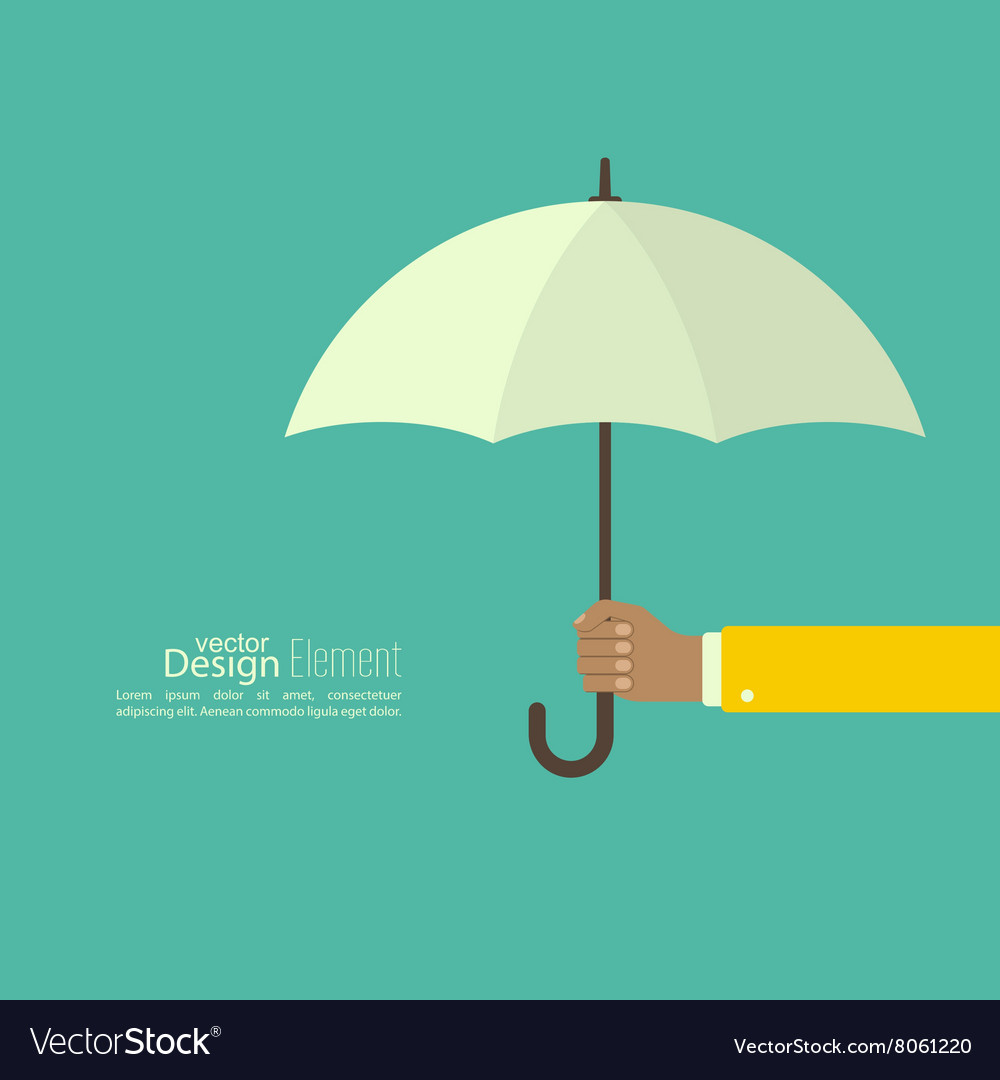 Male hand holding an umbrella vector