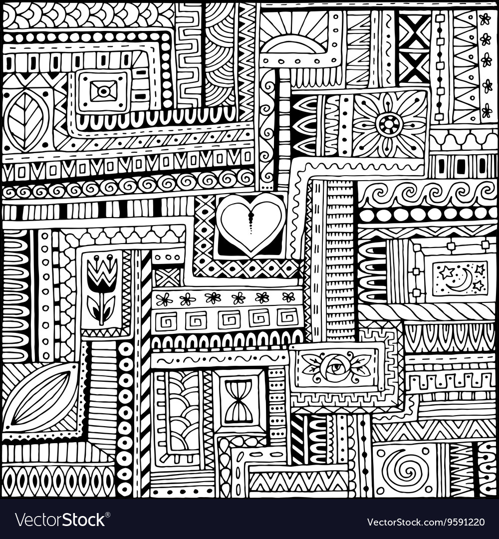 Ornamental ethnic black and white pattern with vector