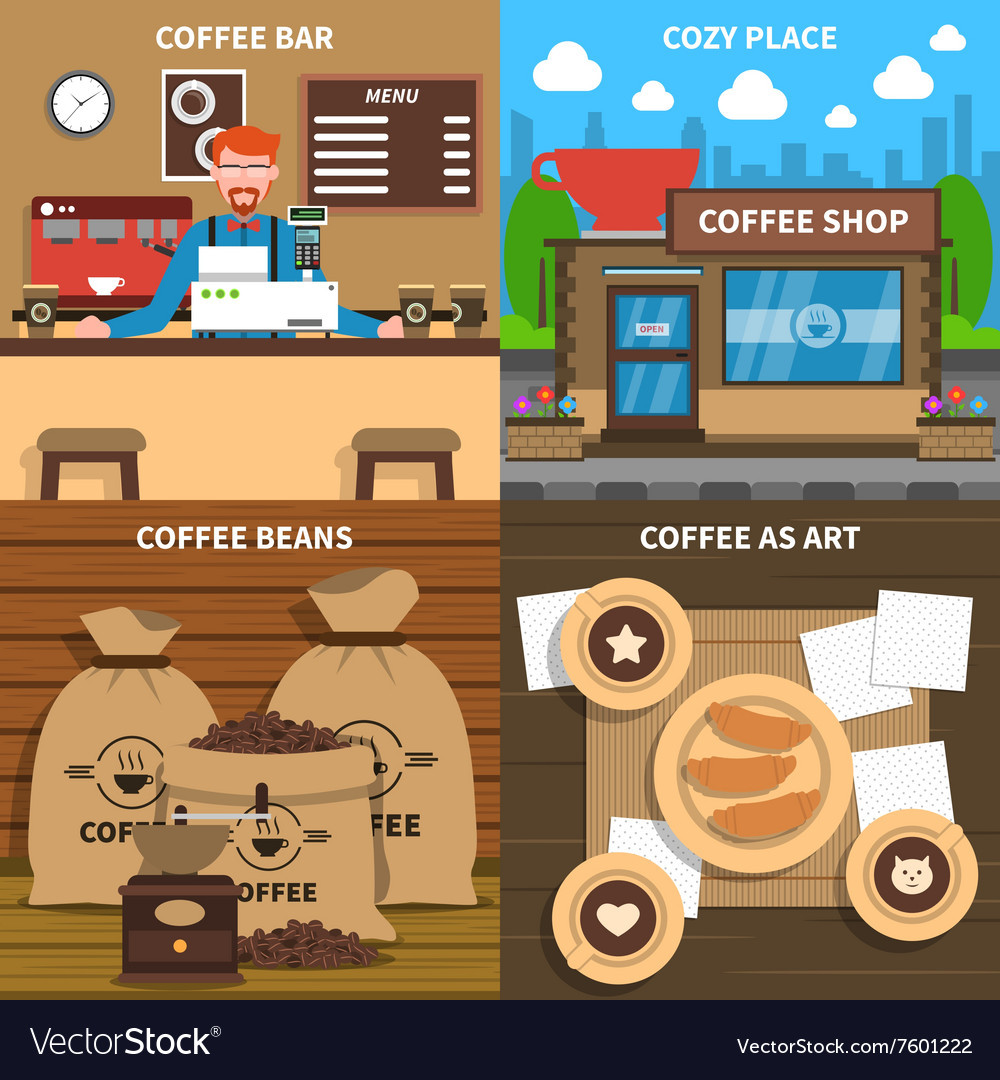 Coffee concept 4 flat icons square vector