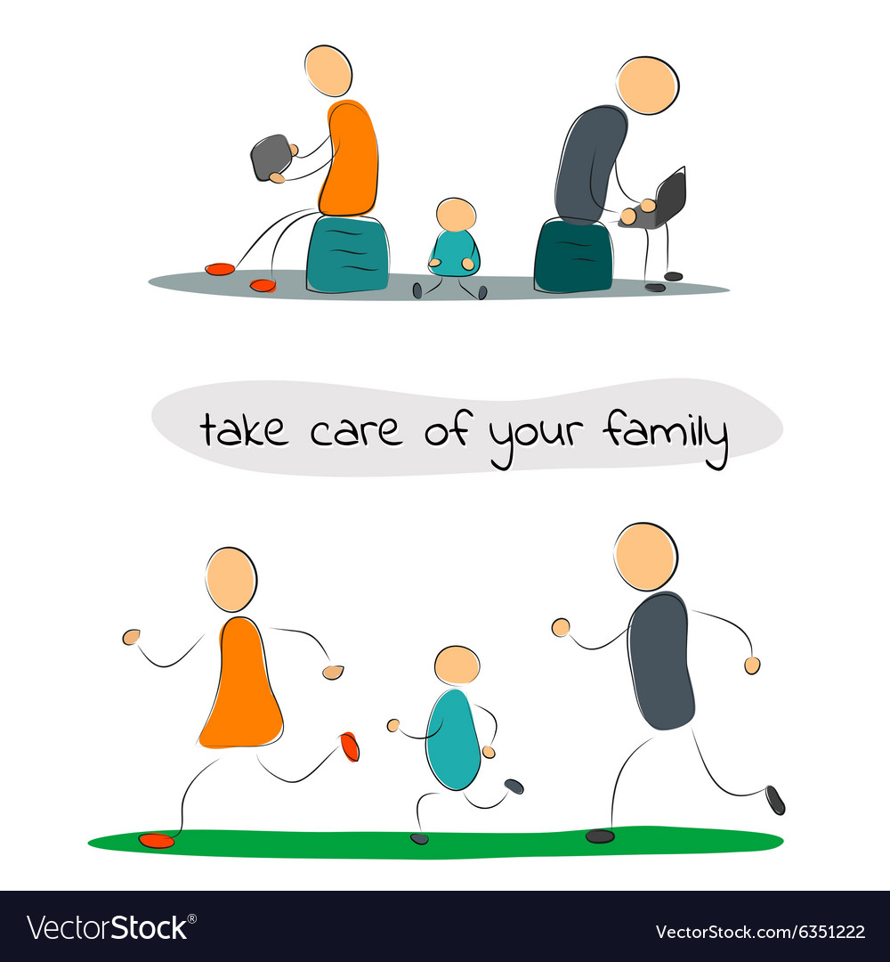 Family with gadgets and sport vector