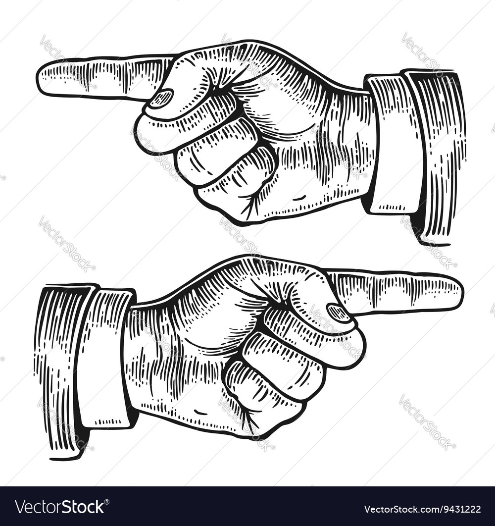 Pointing finger black vintage engraved vector