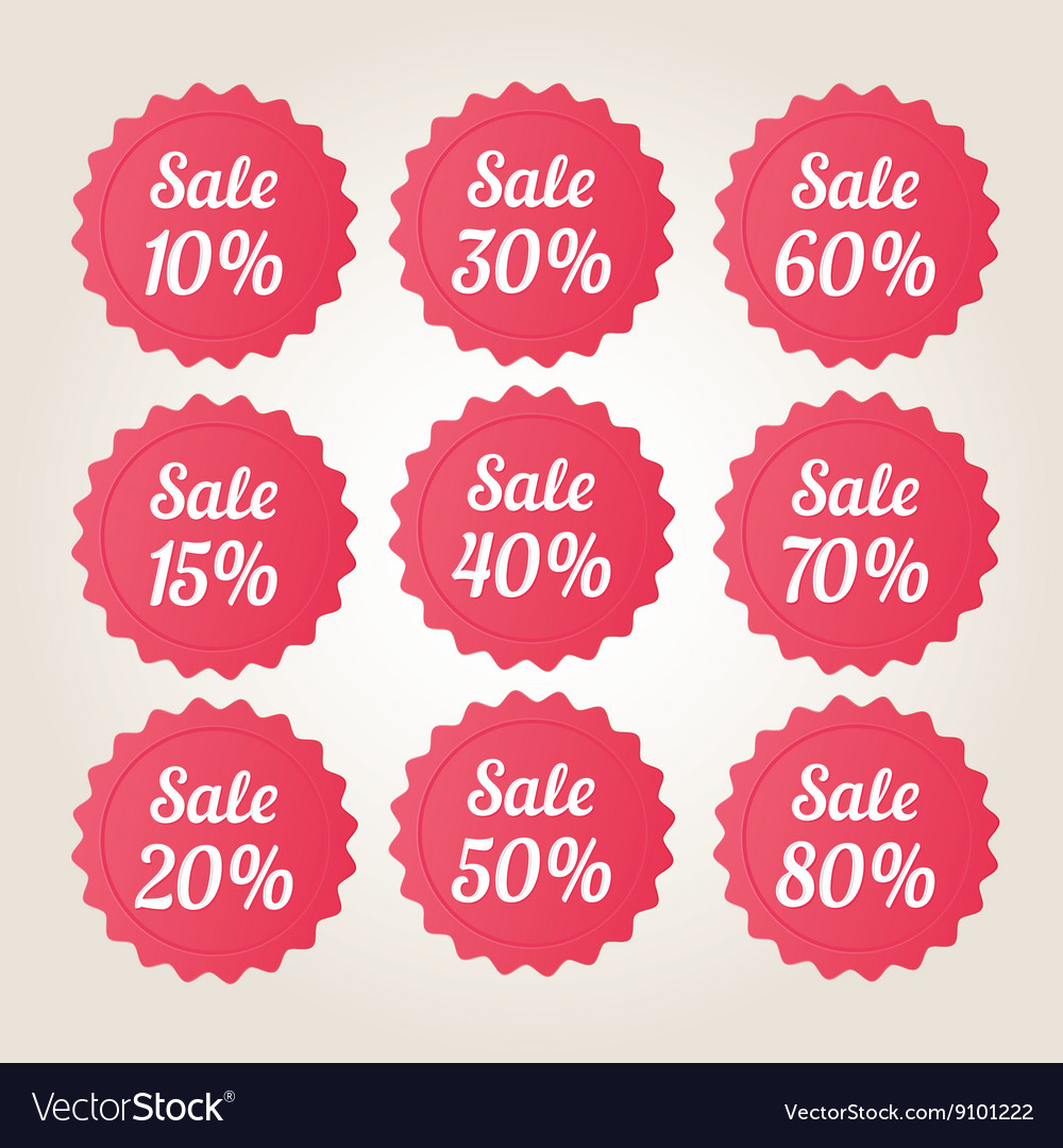 Red sale badge stickers set vector