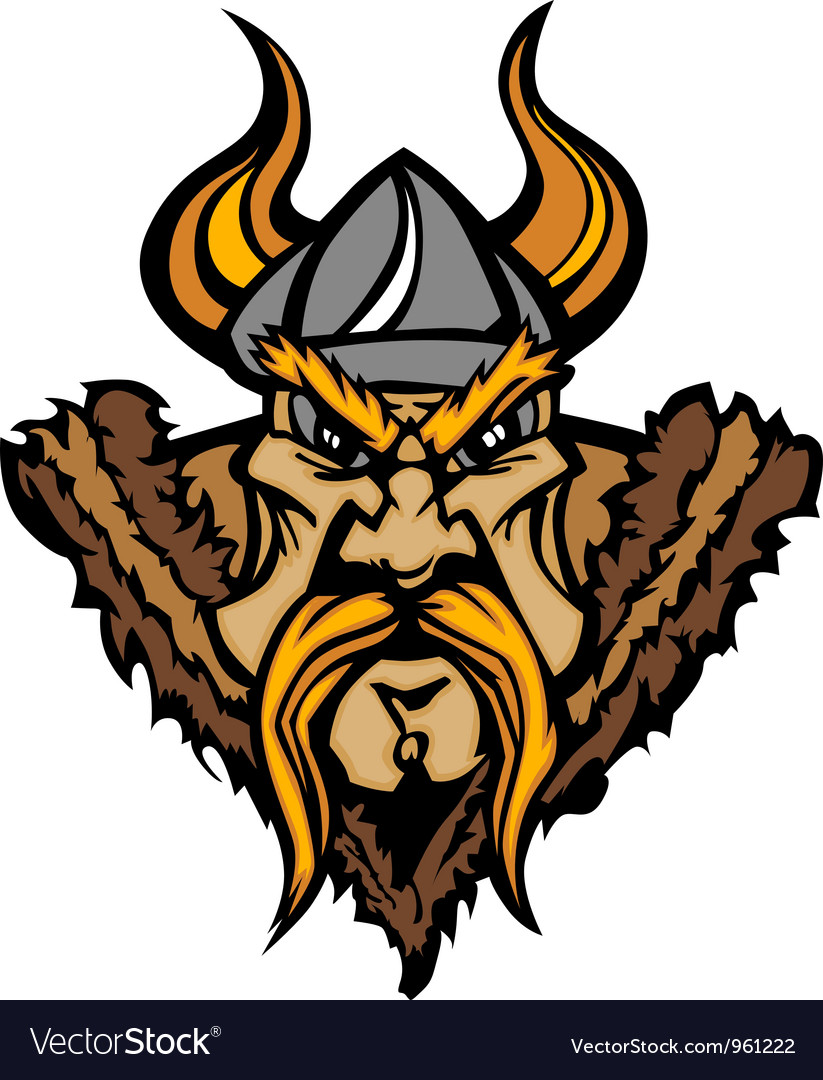 Viking cartoon with horned helmet vector