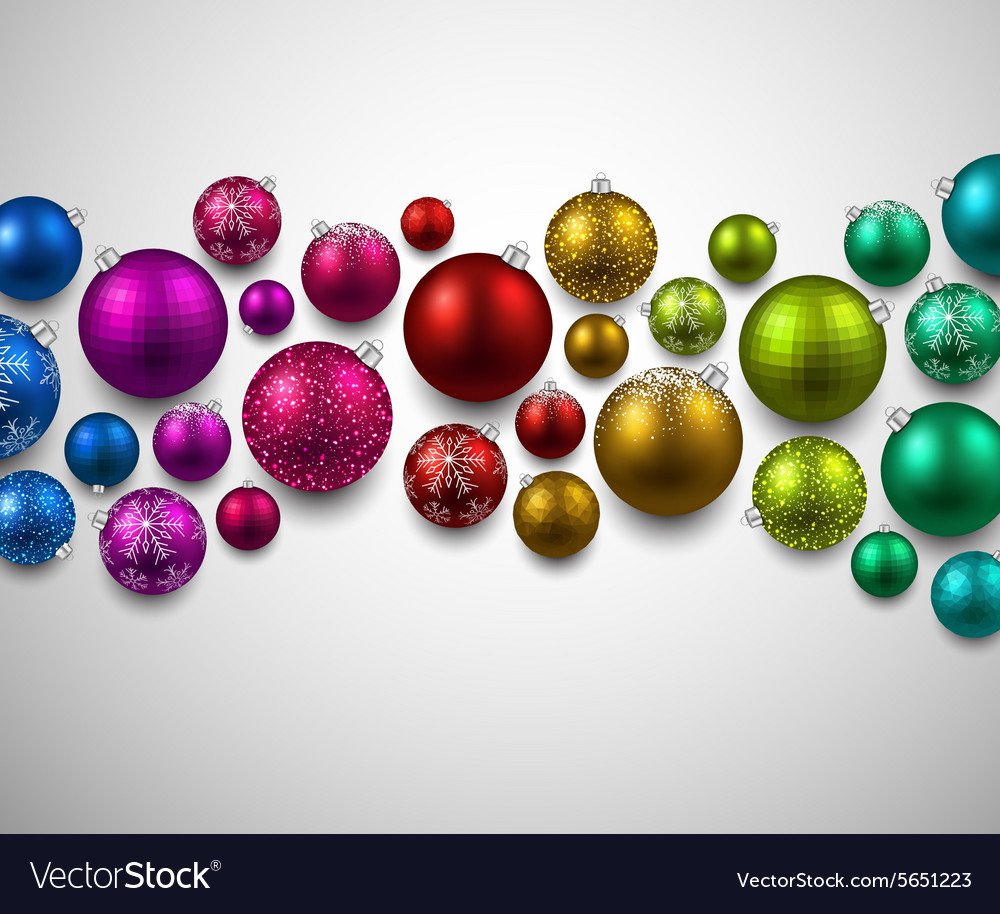 Gift card with colorful christmas balls vector