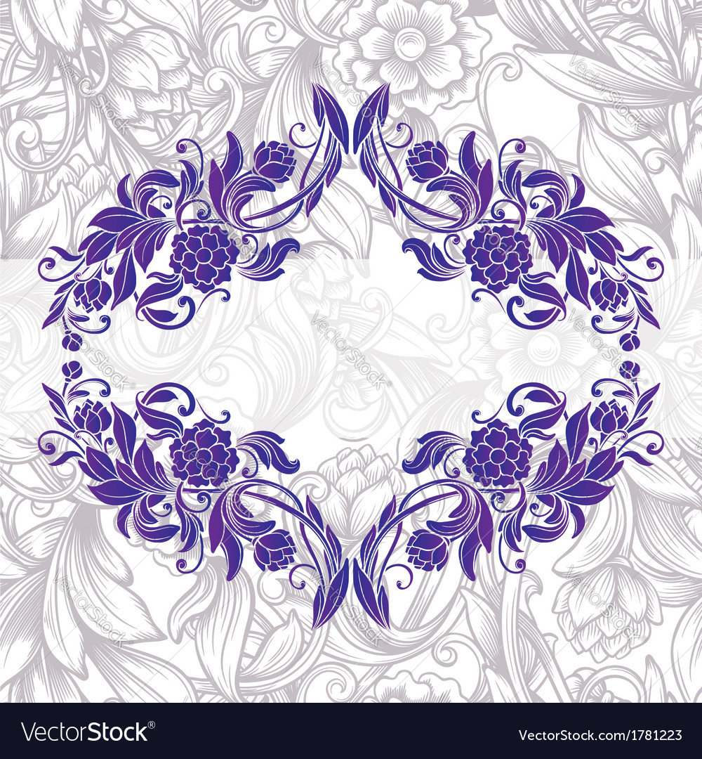 Vintage purple decorative floral frame vector