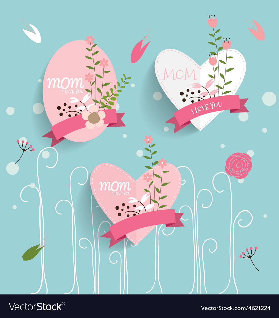 Happy mothers day floral bouquets with ribbon and vector