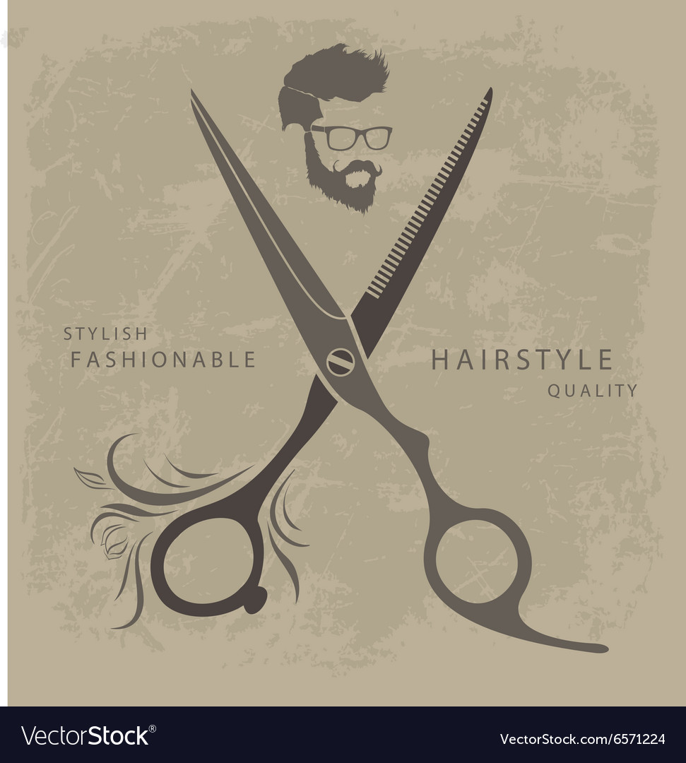 Set of barber shop design elements with bearded vector