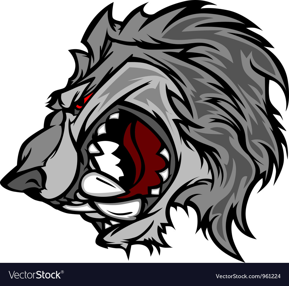 Wolf mascot cartoon with snarling face vector
