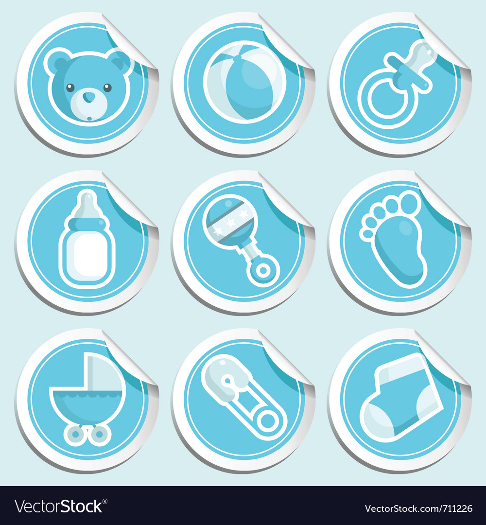 Blue baby shower stickers vector