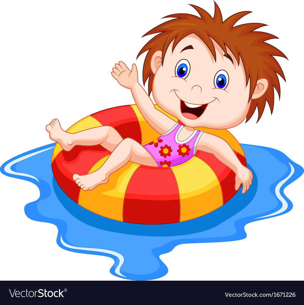 Girl cartoon floating on an inflatable circle in t vector