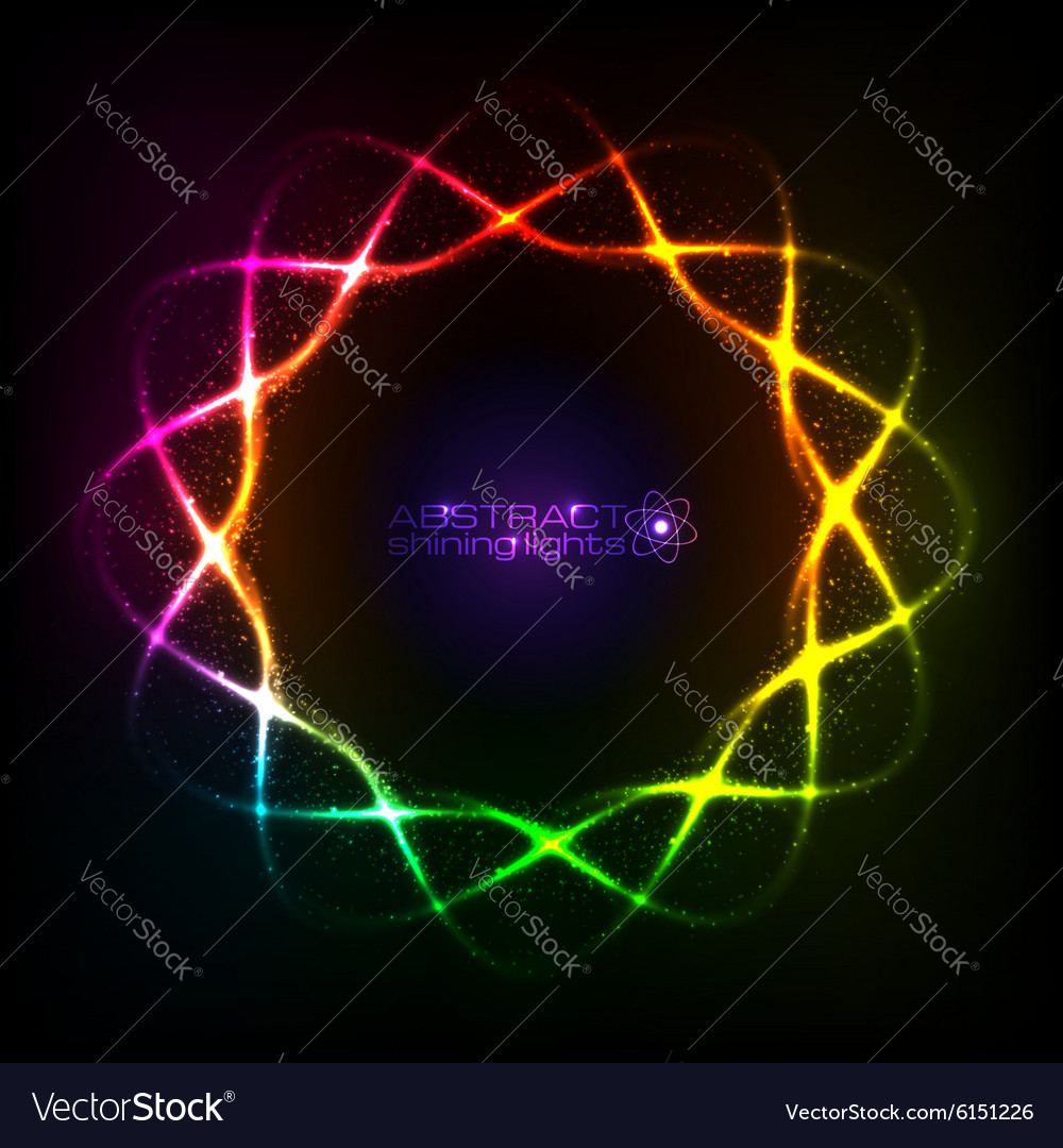 Shining neon rainbow colors spiral cosmic frame vector