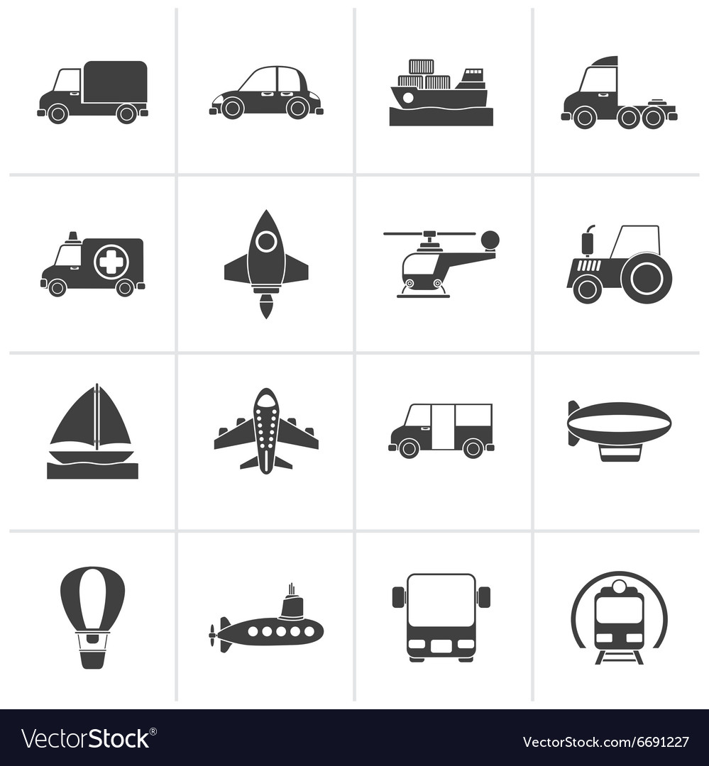 Black different kind of transportation icons vector