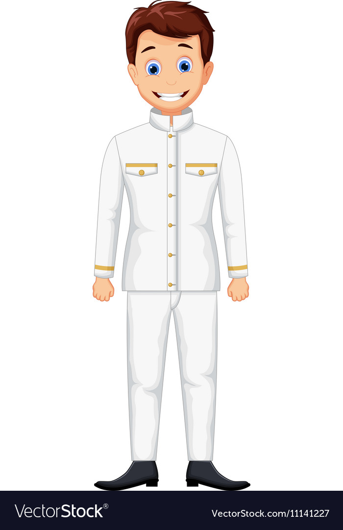 Cute ship captain cartoon vector