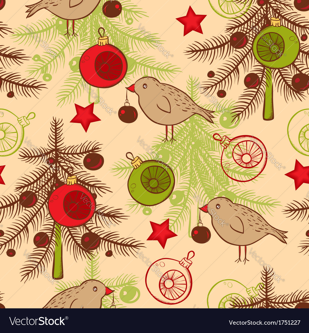 Seamless pattern with birds and christmas tree vector