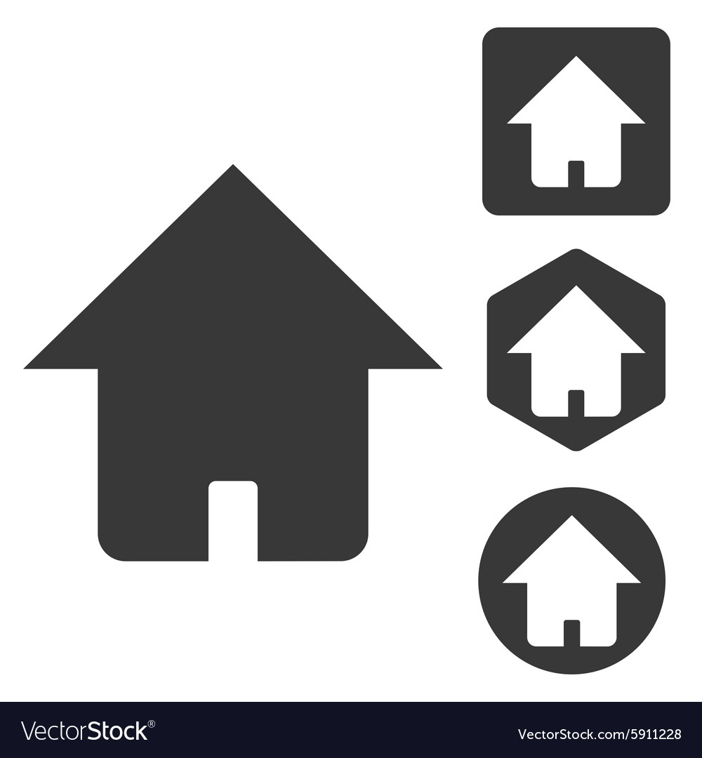 Home icon set monochrome vector