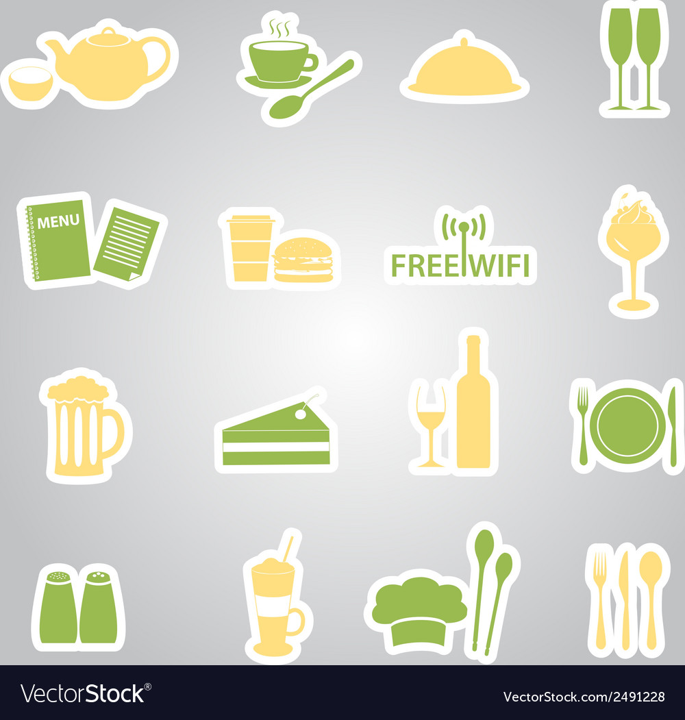 Restaurant and pub stickers eps10 vector