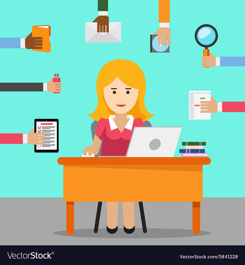 Secretary busy woman for office work vector