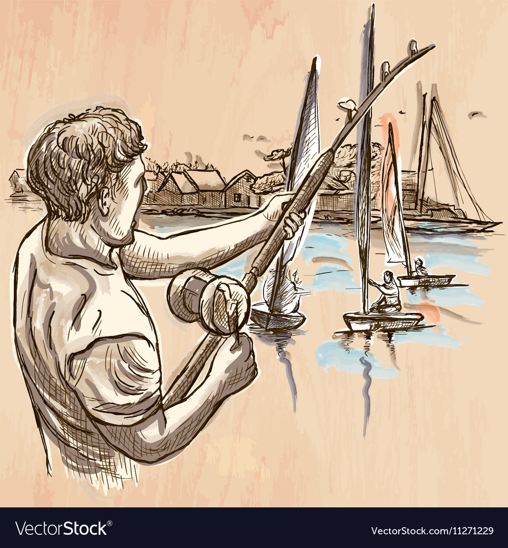 Fishing fisherman  an hand drawn line art vector