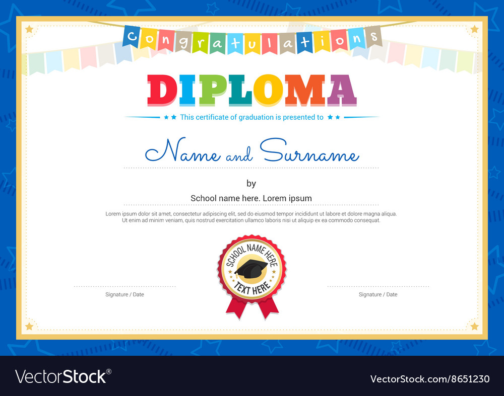 Colorful diploma certificate template for kids vector