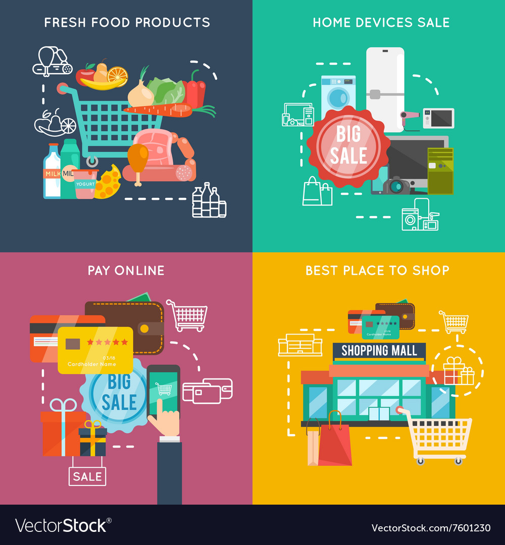 Shopping flat set vector