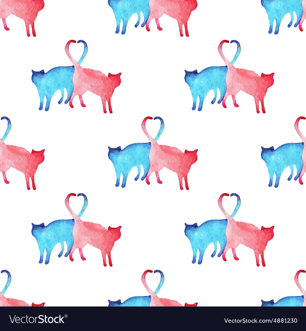 Watercolor cats pattern vector