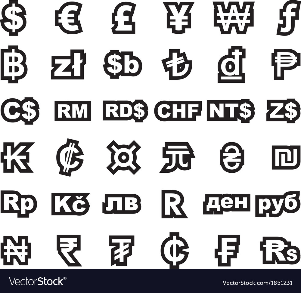 Currency symbol vector