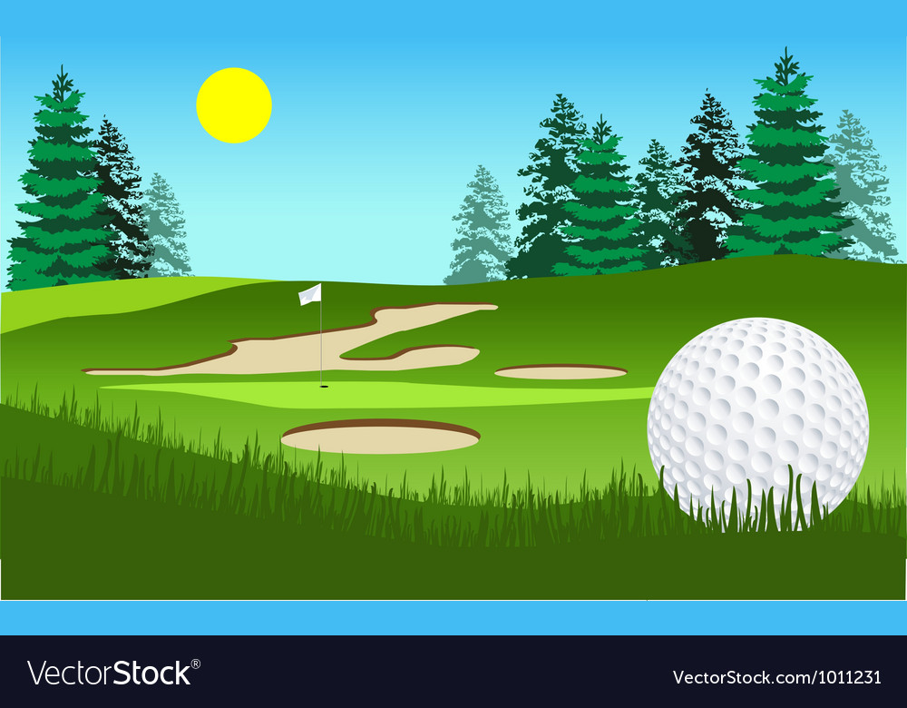 Golf fairway shot vector