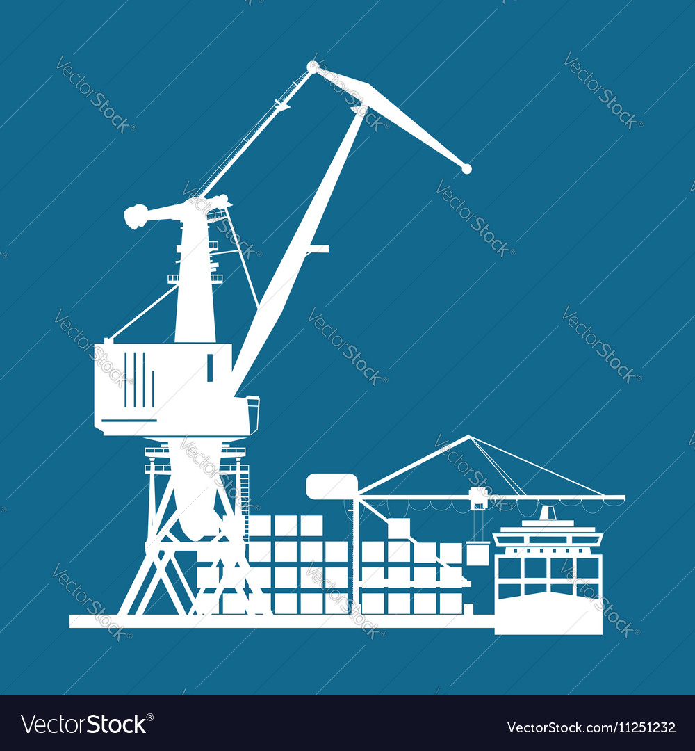 Cargo seaport isolated on blue vector