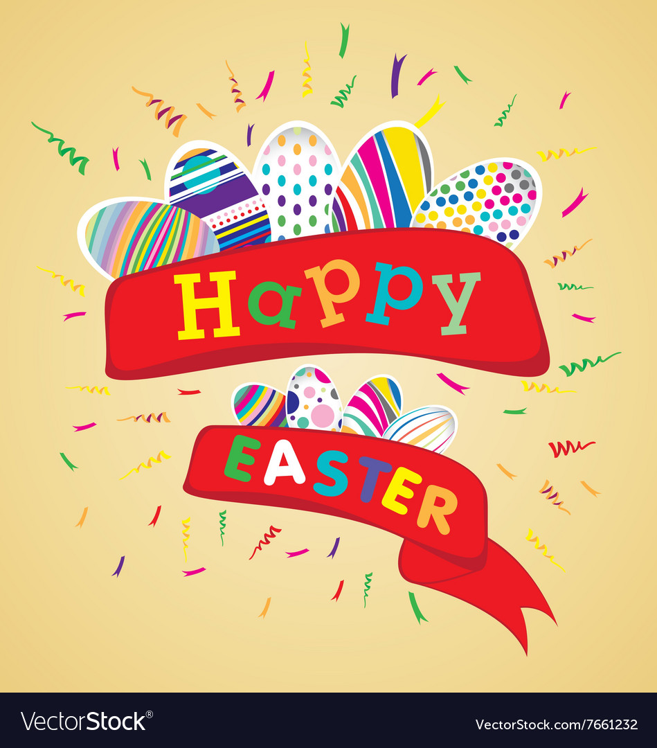 Happy easter with colorful egg on yellow vector