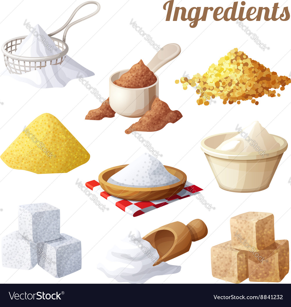 Set of food icons ingredients for cooking vector
