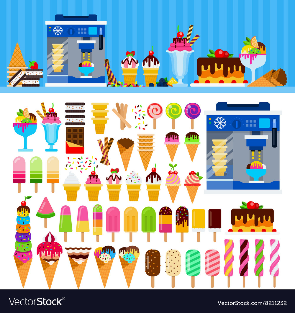 Tasty ice cream on the table vector