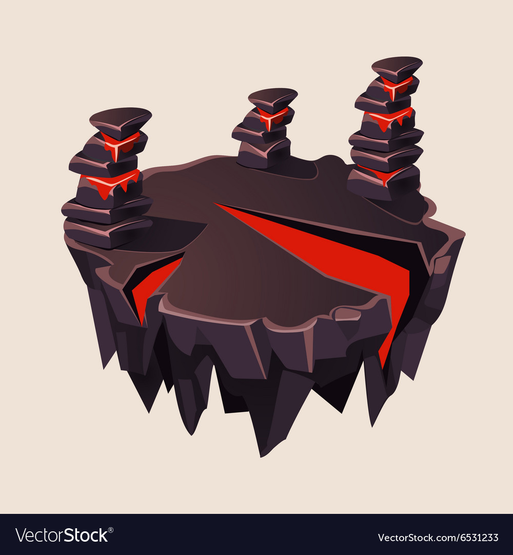 Cartoon stone isometric island with volcano for vector