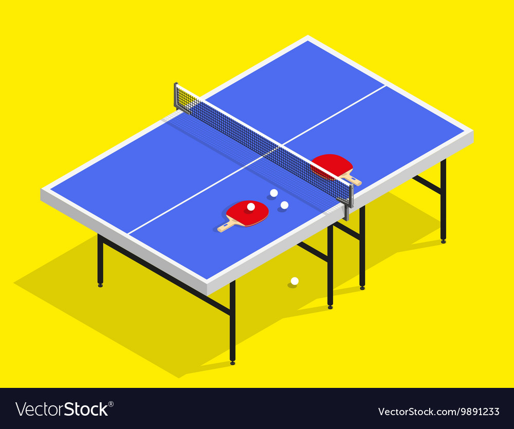 Isometric ping pong still life table vector