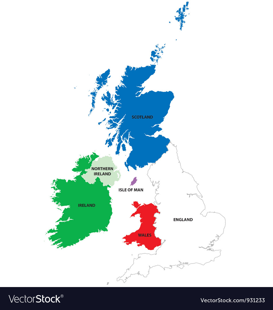 Map of the united kingdom and ireland vector