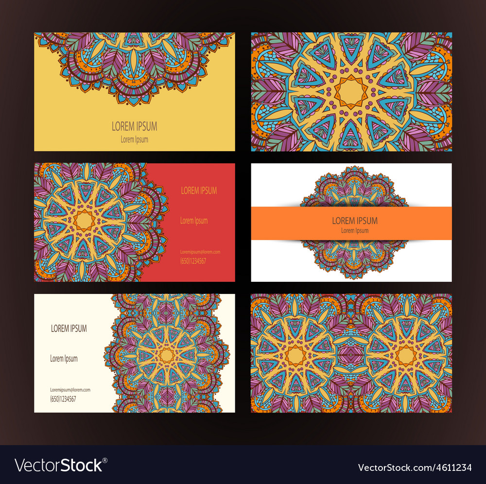 Mandalas business card vector
