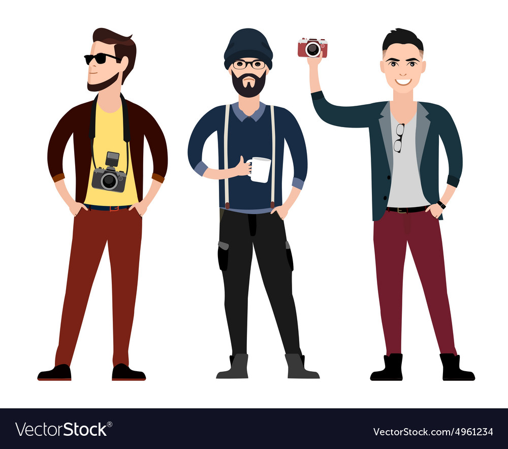 Young men character flat set in different poses vector