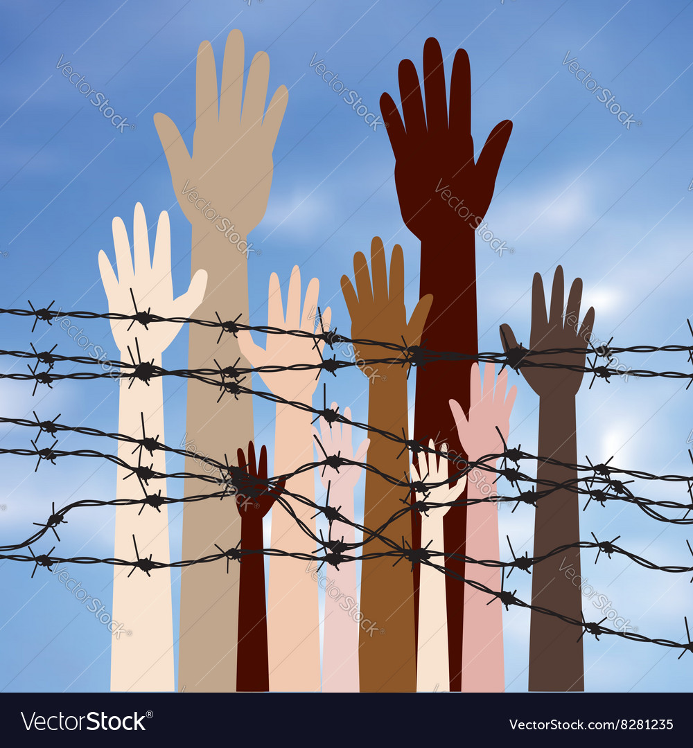 Hands behind a barbed wire2 vector