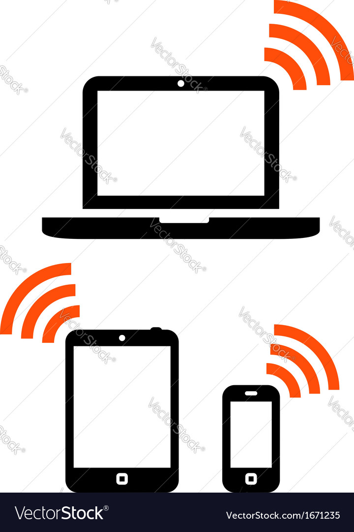 Wireless mobile devices set vector