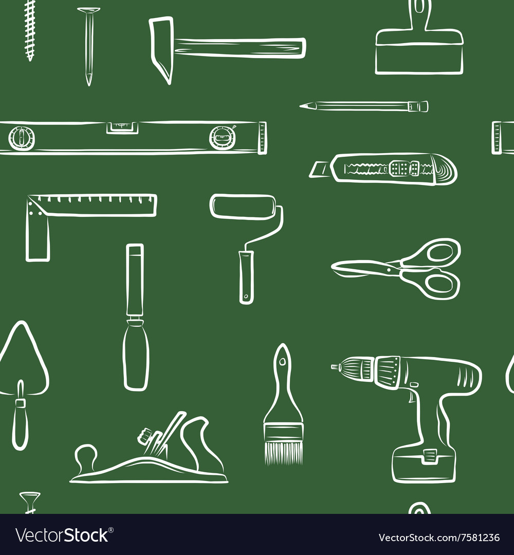 Carpentry doodle icons seamless pattern vector