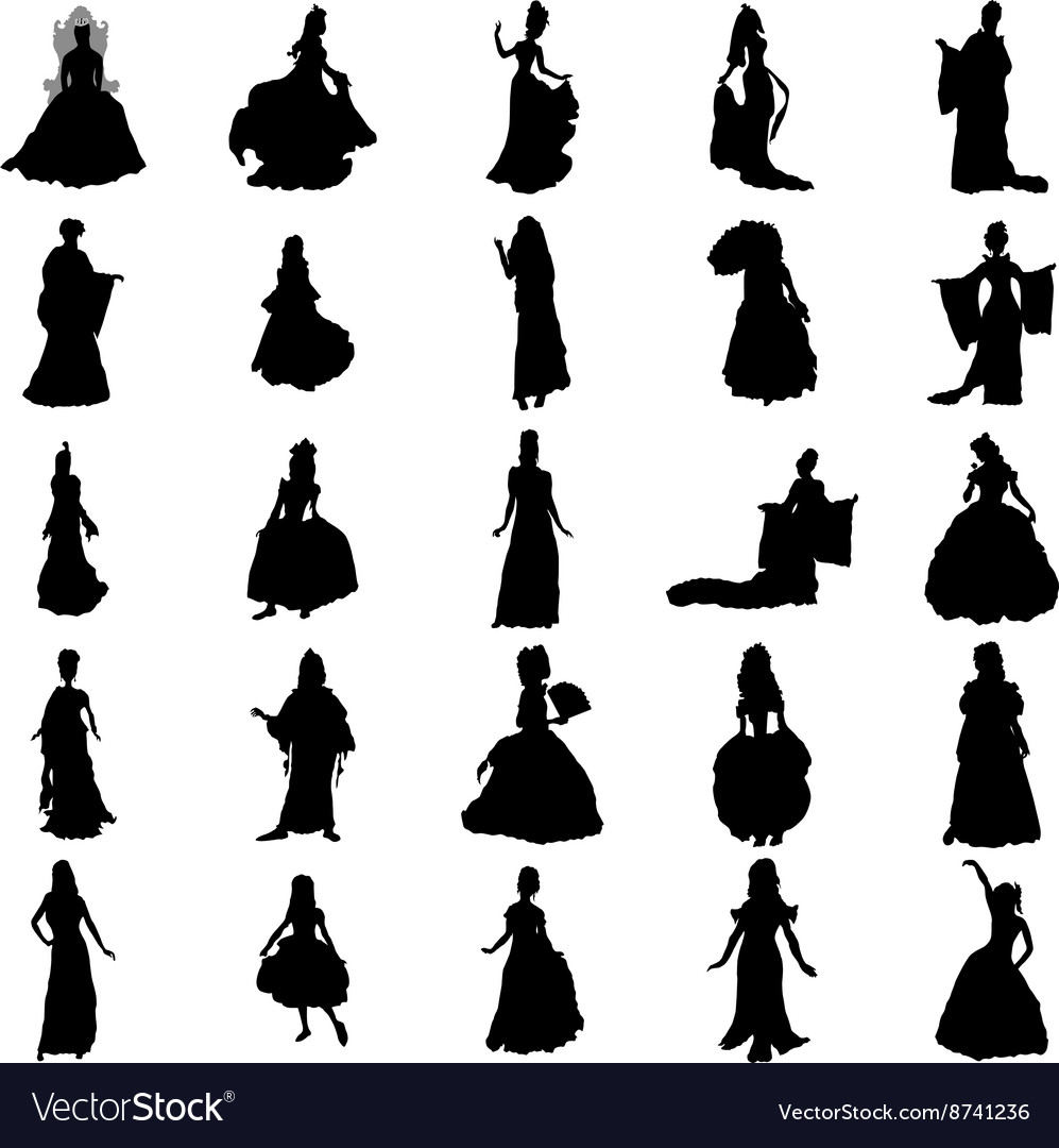 Princess silhouettes set vector
