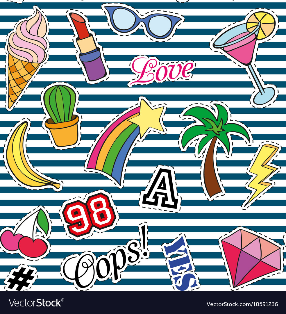 Seamless pattern with fashion patches stickers vector
