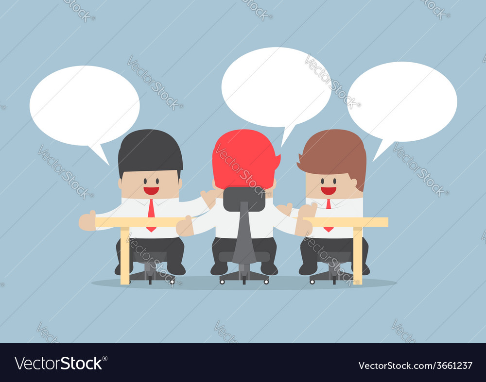 Group of businessmen brainstorming together vector