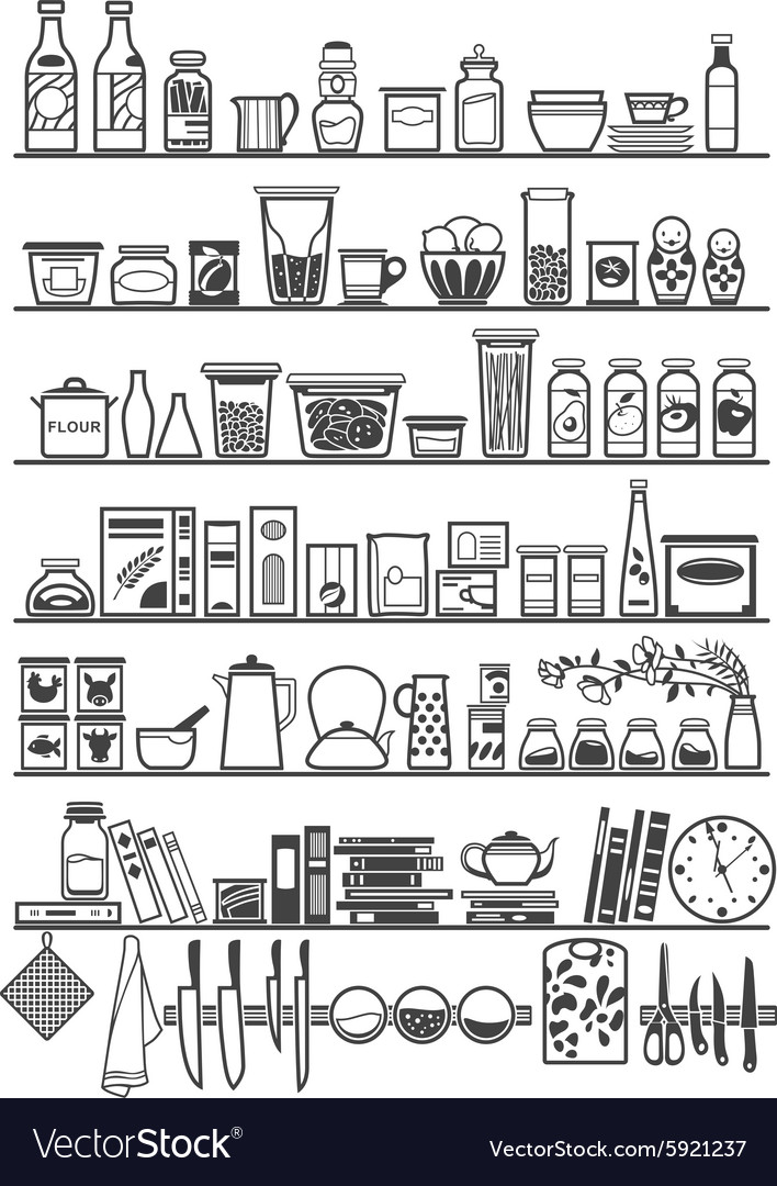Kitchen or pantry shelves vector