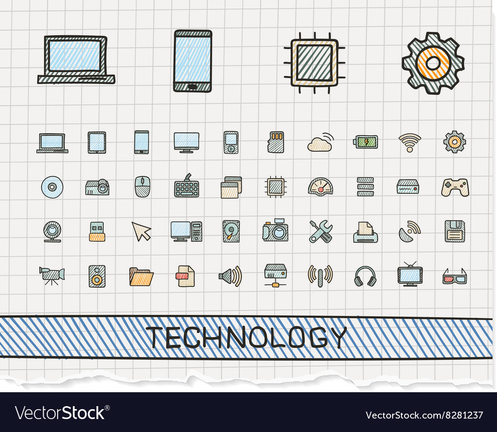 Technology hand drawing line icons doodle vector