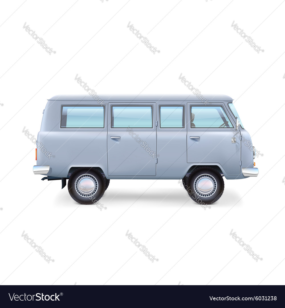 Retro travel van on white background vector