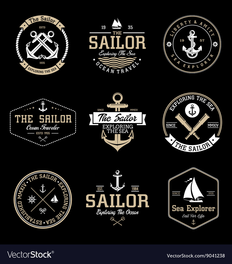 Vintage sailor badges vector