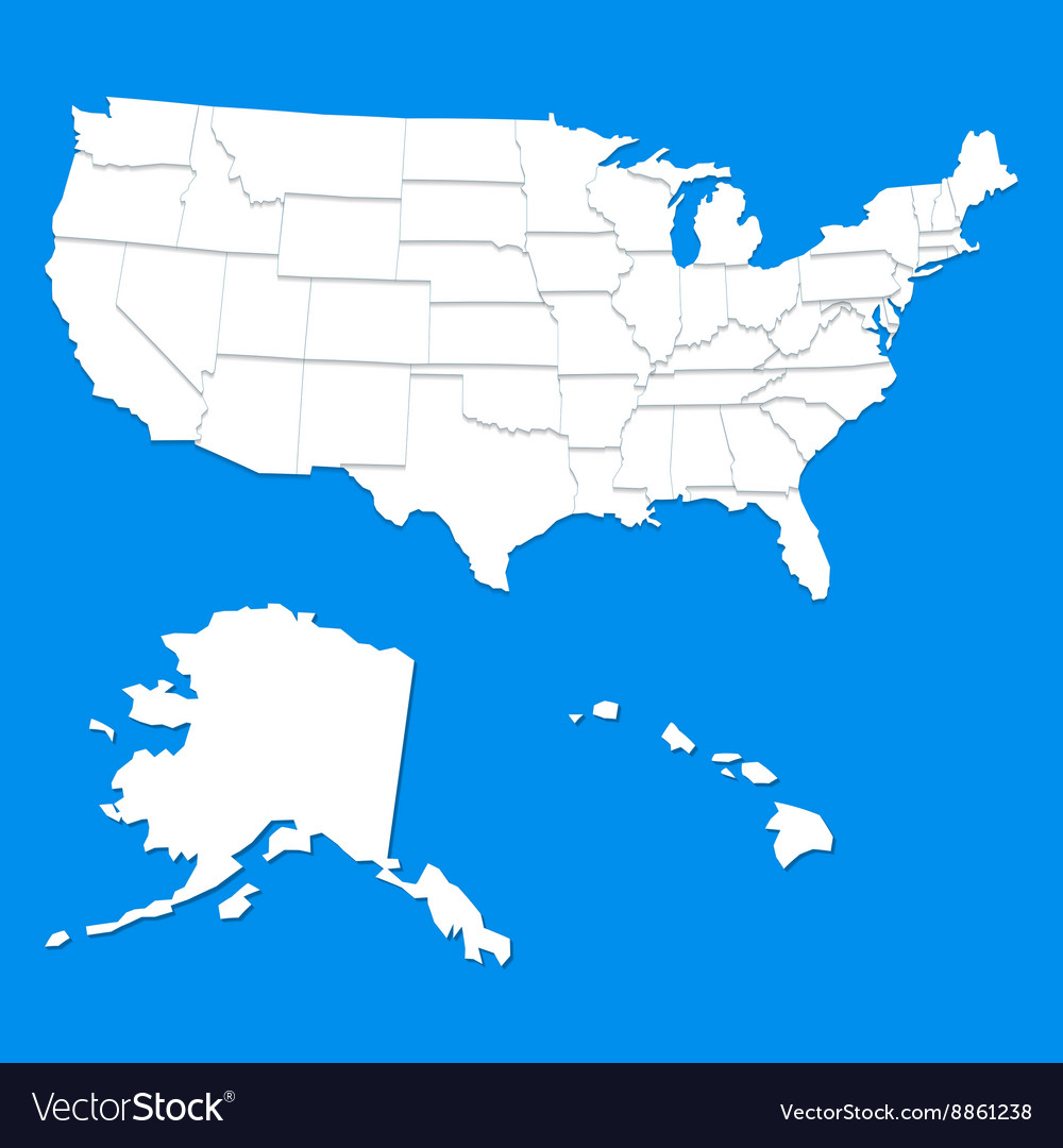 White usa map vector