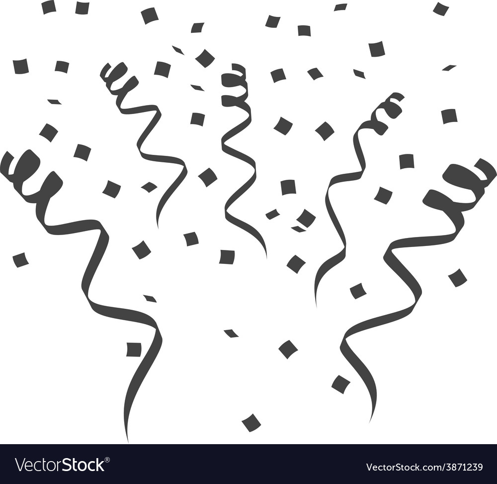 Party streamers silhouette surprise vector