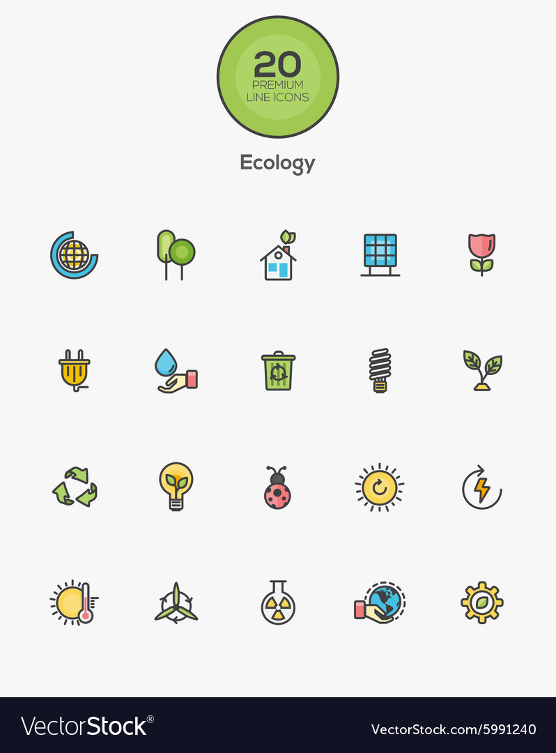 Flat line color icons green vector