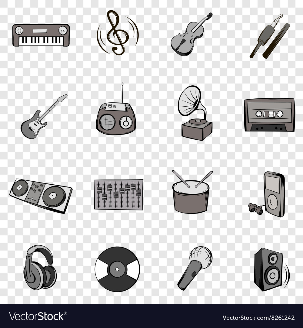 Music set icons vector